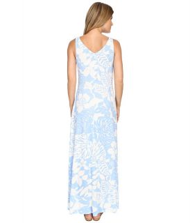 Tommy Bahama Leaf Relief Long Dress Chambray Blue, Blue
