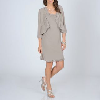 Richards Womens Mocha Beaded 2 piece Dress