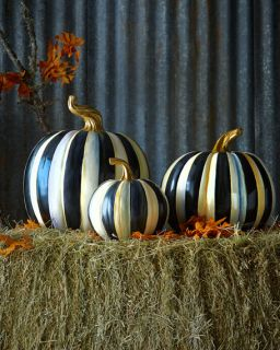 MacKenzie Childs Courtly Stripe Small Squash Pumpkin