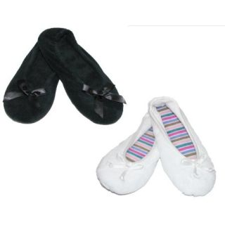 Isotoner Womens Terry Classic Ballerina Slippers (Pack of 2)