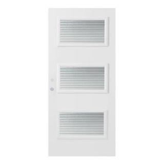 Stanley Doors 32 in. x 80 in. Dorothy Masterline 3 Lite Prefinished White Right Hand Inswing Steel Prehung Front Door 1902Y 32 R