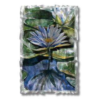 Water Lilies by Ash Carl Original Painting on Metal Plaque by All My