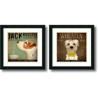 Stephen Fowler Coffee Dogs   set of 2 Framed Art Print 18 x 18 inch