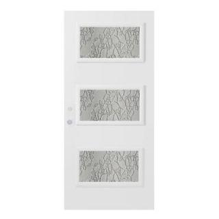 Stanley Doors 36 in. x 80 in. Dorothy Delta Satin 3 Lite Prefinished White Right Hand Inswing Steel Prehung Front Door 1909Y 36 R