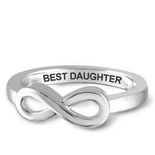 "JewelersClub ""Best Daughter"" Infinity Loop Message Ring In Sterling Silver"