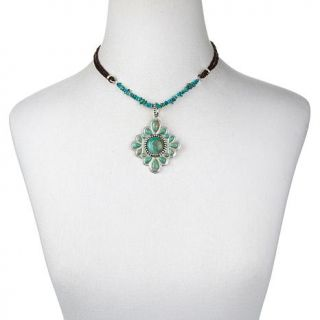 """Studio Barse Turquoise Sterling Silver Pendant with 18 1/4"""" Leather Necklace   7744059"""
