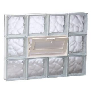 Clearly Secure 31 in. x 23.25 in. x 3.125 in. Wave Pattern Vented Glass Block Window V3224DC