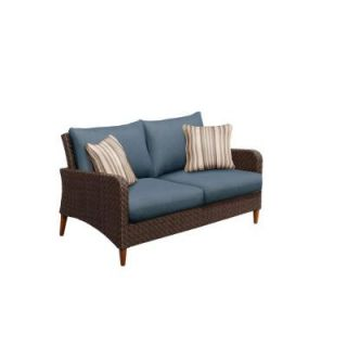Brown Jordan Marquis Patio Loveseat with Sparrow Cushions and Congo Throw Pillows    CUSTOM M12110 LV 2