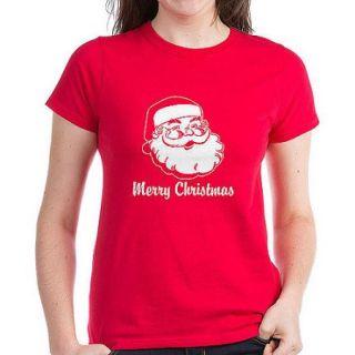 CafePress Women's Merry Christmas Santa Claus Dark T Shirt