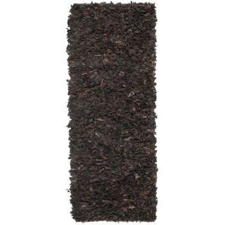 Leather Shag Dark Brown Area Rug by Safavieh