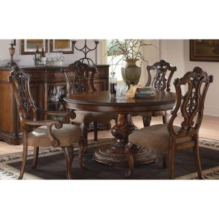 Legacy Classic Furniture 3100 521K (6)3100 140 KD Pemberleigh Round to Oval Table and 6 Pierced Back Side Chairs