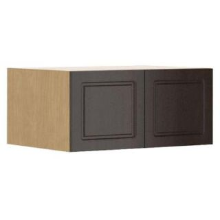Fabritec Ready to Assemble 33x15x24 in. Bern Fridge Top Wall Cabinet in Maple Melamine and Door in Dark Brown WFR331524.M.BERNE