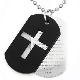 "Men's Black Plated Stainless Steel Cross and ""Lord's Prayer"" Double Dog Tag Necklace"