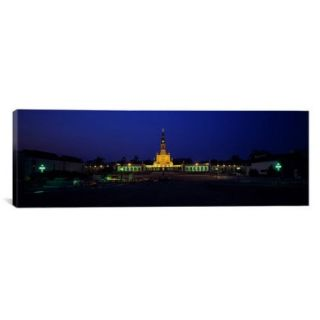 iCanvas Panoramic Church Lit Up at Night, Our Lady of Fatima, Fatima, Portugal Photographic Print on Canvas