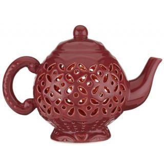 Illuminated Pierced Ceramic Teapot Lamp by Valerie —