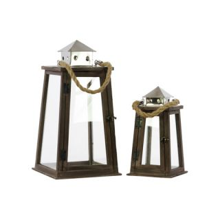 Wood Lantern with Pierced Metal Top Set of Two Natural Wood Finish by