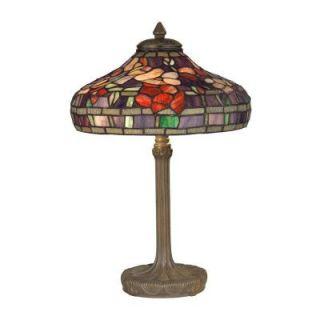 Dale Tiffany 18.25 in. Peony Replica Antique Bronze/Verde Table Lamp TT10031