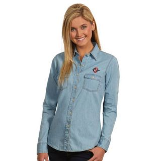 San Diego State Aztecs Antigua Womens Chambray Long Sleeve Button Up Shirt   Light Blue