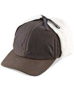 Woolrich Waxed Cotton Winter Trapper Cap with Sherpa Lined Earflaps