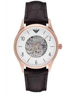 Emporio Armani Mens Automatic Beta Dark Brown Leather Strap Watch