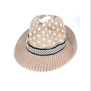 Autumn Strip Ribbon Detail Plaids Prints Fedora Hat Cap White Apricot Color