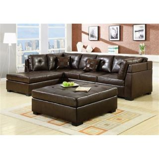 Coaster Furniture 500686 Darie Brown Leather Sectional