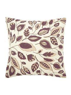 Linea Leaf design purple cotton cushion