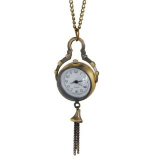 Arabic Number Dial Plastic Crystal Ball Pendant Necklace Watch Bronze Tone