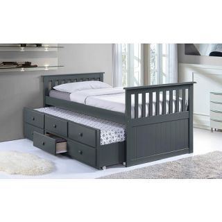 Broyhill Kids Marco Island Twin Captain's Bed with Trundle Bed and Drawers   Gray    Storkcraft