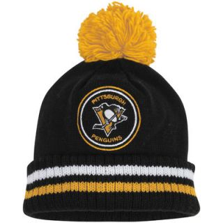Pittsburgh Penguins Mitchell & Ness Vintage Big Man Hi Five Cuffed Knit Hat   Black