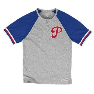 Mitchell & Ness MLB Away Game S/S Henley   Mens   Clothing   St. Louis Cardinals   Ash/Red