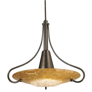 Framburg 1095MB/GL Brocatto 20 1 Light Pendant in Mahogany Bronze with Gold Leaf Glass