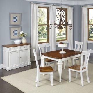 TRIBECCA HOME Mackenzie 5 piece Country Antique White Dining Set