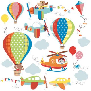 High Flying Airplanes Peel & Stick Kids Room/ Nursery Wall Decal for