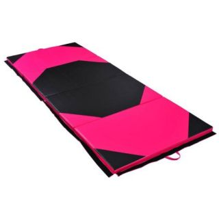 "Soozier 4' x 10' x 2"" PU Leather Gymnastics Tumbling / Martial Arts Folding Mat   Pink / Black Rhombus Pattern"