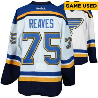 Ryan Reaves St. Louis Blues  Authentic Game Used 2015 16 Set 1 Road White Jersey   Worn From October 8, 2015 Through December 13, 2015