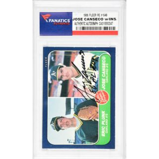 Jose Canseco Oakland Athletics  Authentic Autographed 1986 Fleer #649 Rookie Card with 86 AL ROY Inscription