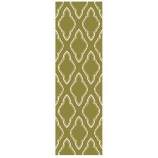 """2'6"""" x 8' Runner Olive/Cream Color Handmade Indian """"Fallon Collection"""" by Jill Rosenwald Rug"""
