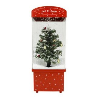 """16.25"""" Lighted Musical """"Let it Snow"""" Christmas Tree Snow Globe Glitterdome"""