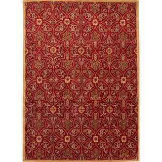 Hand tufted Transitional Oriental Red/ Orange 100 percent Wool Rug (8