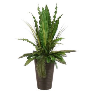 Silk Tropical Leaves with Grass and Palms Floor Plant in Planter