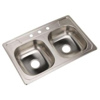 STERLING Middleton Drop In Stainless Steel 33 in. 3 Hole Double Bowl Kitchen Sink 14633 3 NA
