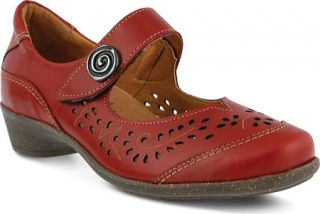 Womens Spring Step Music   Red Leather
