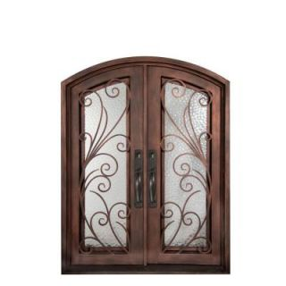 Iron Doors Unlimited 62 in. x 82 in. Flusso Classic Full Lite Painted Bronze Hammered Wrought Iron Prehung Front Door IF6282REHW