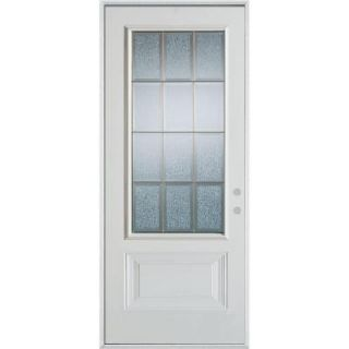 Stanley Doors 36 in. x 80 in. Geometric Clear and Zinc 3/4 Lite 1 Panel Prefinished White Left Hand Inswing Steel Prehung Front Door 1000E ZCL 36 L Z