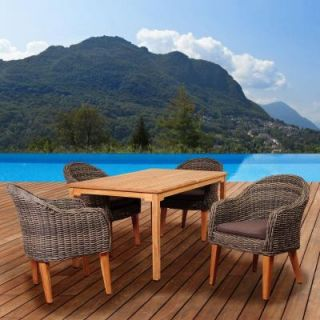 ia Fender 5 Piece Teak/Wicker Rectangular Patio Dining Set with Brown Cushions SC MALRCT_4GUAM