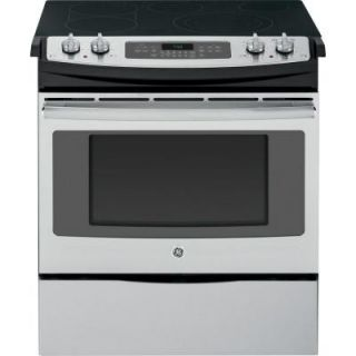 GE 4.4 cu. ft. Slide In Electric Range with Self Cleaning Convection Oven in Stainless Steel JS750SFSS