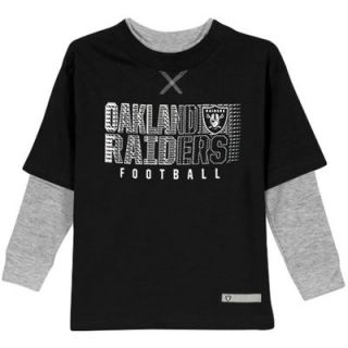 Oakland Raiders Toddler Scrimmage Faux Layer Long Sleeve T Shirt   Black/Ash