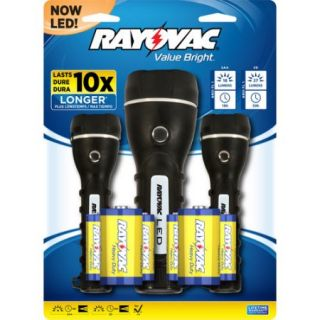 Rayovac LED 2D Rubber Flashlight, 3 Pack