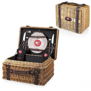 Picnic Time 208 40 179 014 4 Champion Basket in Black with Atlanta Hawks Digital Print